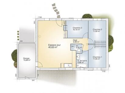 Plan de maison Opale GA 83 F Tradition 3 chambres  : Photo 1