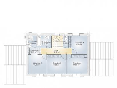 Plan de maison Saphir 140 Tradition 5 chambres  : Photo 2
