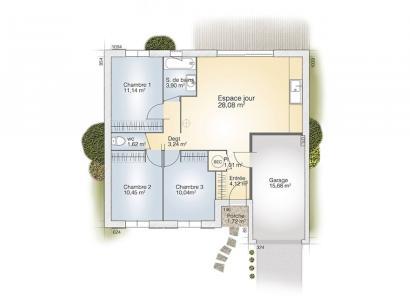 Plan de maison Opale G 73 P Elégance 3 chambres  : Photo 1