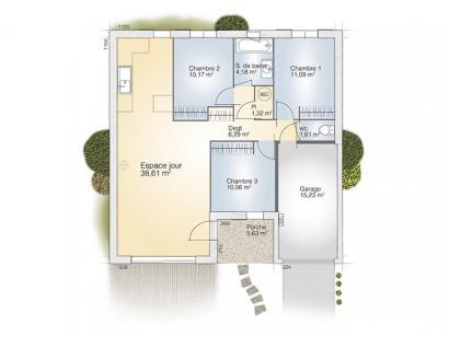 Plan de maison Opale G 83 P Tradition 3 chambres  : Photo 1