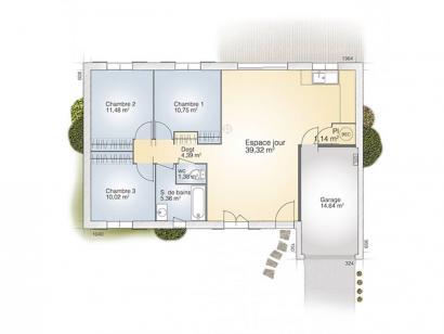 Plan de maison Opale G 83 F Tradition 3 chambres  : Photo 1
