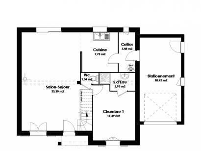Plan de maison Maison Traditionnelle - Tradi1 4 chambres  : Photo 1