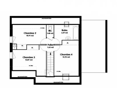Plan de maison Maison Traditionnelle - Tradi1 4 chambres  : Photo 2