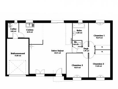 Plan de maison Maison Traditionnelle - Tradi5 3 chambres  : Photo 1