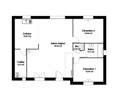 Plan de maison Maison Traditionnelle - Tradi6 2 chambres  : Photo 2