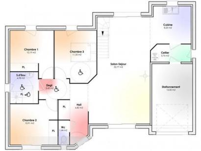 Plan de maison Maison Contemporaine - Archi2 3 chambres  : Photo 1