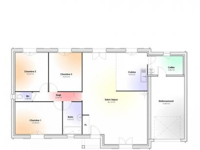 Plan de maison Maison Contemporaine - Archi17 3 chambres  : Photo 1