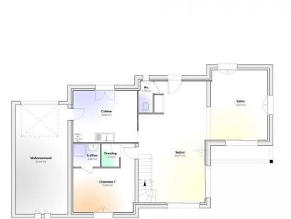 Plan de maison Maison Contemporaine - Archi7 4 chambres  : Photo 1