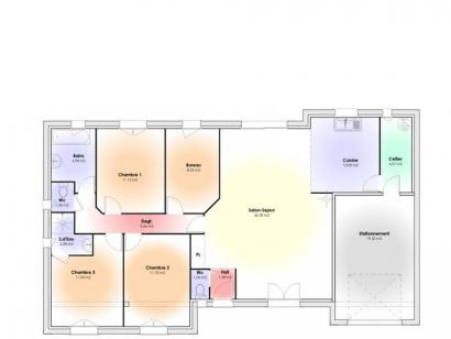 Plan de maison Maison Contemporaine - Archi18 3 chambres  : Photo 1