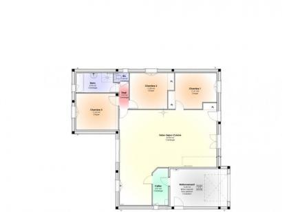 Plan de maison Maison Contemporaine - Archi15 3 chambres  : Photo 1