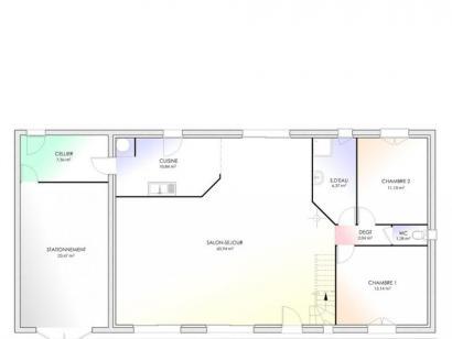 Plan de maison Maison Contemporaine - Archi9 2 chambres  : Photo 1