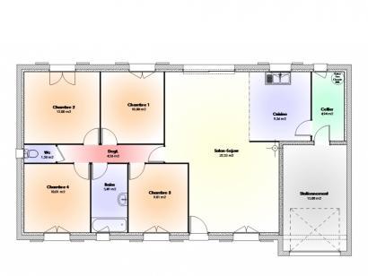 Plan de maison Maison Contemporaine - Archi23 4 chambres  : Photo 1
