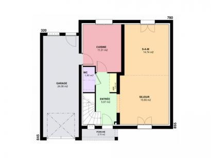 Plan de maison AMETHYSTE contemporain 3 chambres  : Photo 1