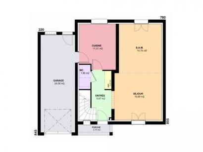 Plan de maison AMETHYSTE traditionnel 3 chambres  : Photo 1