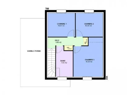 Plan de maison AMETHYSTE traditionnel 3 chambres  : Photo 2