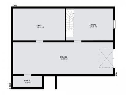 Plan de maison TURQUOISE SOUS SOL traditionnel  : Photo 1