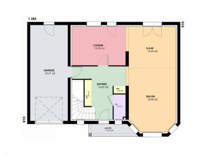 Plan de maison AMBRE traditionnel 3 chambres  : Photo 1