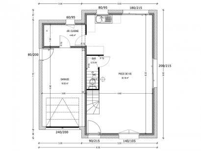 Plan de maison Avant-Projet GUERINIERE - 90 m2 - 3 chambres 3 chambres  : Photo 1