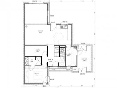 Plan de maison Avant-Projet CLOUZEAUX - 110 m² - 3 chambres 3 chambres  : Photo 1