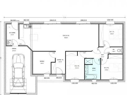 Plan de maison Avant-Projet LUCON - 105 m2 - 3 chambres 3 chambres  : Photo 1