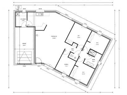 Plan de maison Avant-Projet JARD SUR MER - 90 m2 - 3 chambres 3 chambres  : Photo 1