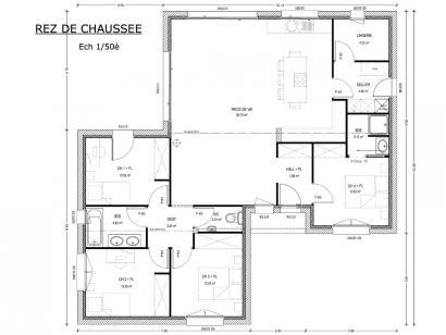 Plan de maison Avant-Projet LES EPESSES - 120 m² - 4 chambres 4 chambres  : Photo 1