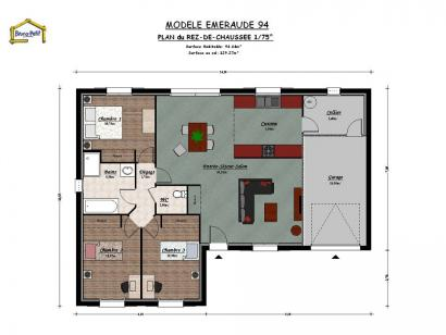 Plan de maison EMERAUDE 94 3 chambres  : Photo 1