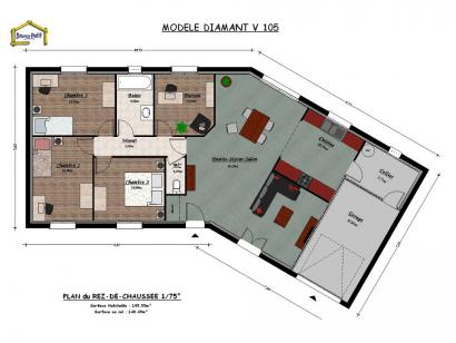 Plan de maison DIAMANT V 105  : Photo 1