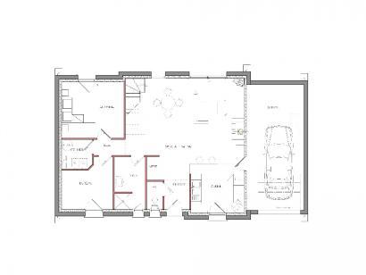 Modèle de maison Autre modèle avec garage et trois chambres au rez- 1 chambre  : Photo 2