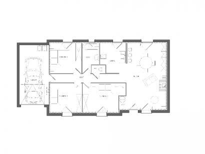 Modèle de maison Maison avec garage et 3 chambres au rez-de-chaussé 3 chambres  : Photo 2