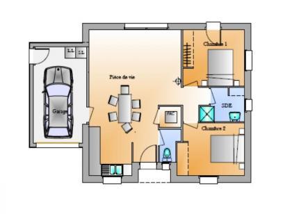 Plan de maison AVANT PROJET EVRUNES 2 CHAMBRES 2 chambres  : Photo 1