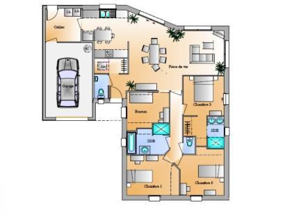 Plan de maison Avant-Projet Rosnay 3 Chambres + 1 bureau 3 chambres  : Photo 1