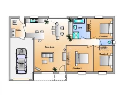 Plan de maison Avant-Projet La Génetouze 3 chambres 3 chambres  : Photo 1
