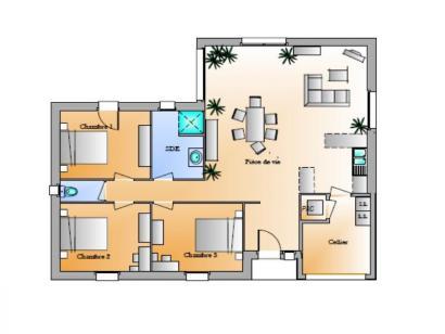 Plan de maison Avant-projet Magné 3 chambres 3 chambres  : Photo 1