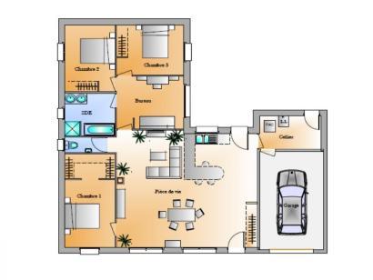 Plan de maison Avant projet Le Givre 3 chambres + 1 bureau 3 chambres  : Photo 1