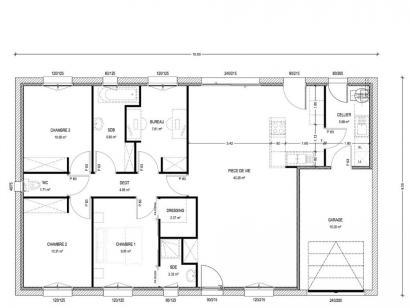 Plan de maison Avant projet St Etienne De Brillouet - 3ch+1 bur - 3 chambres  : Photo 1