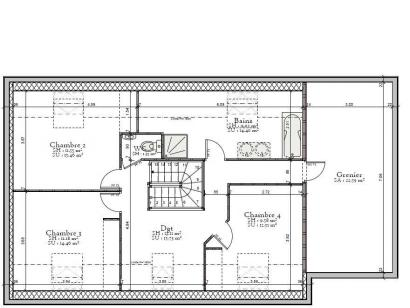 Plan de maison AVANT PROJET L'ARCHE - 127 m² - 4 chambres 4 chambres  : Photo 2