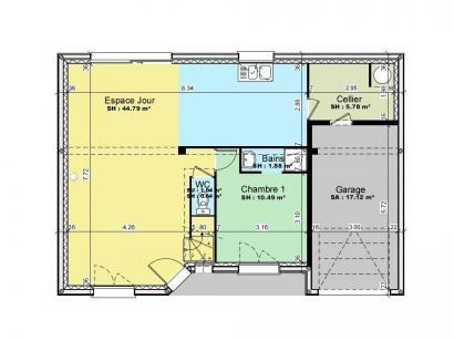 Plan de maison AVANT PROJET YVRE - Etage 100 m² - 4ch 4 chambres  : Photo 1