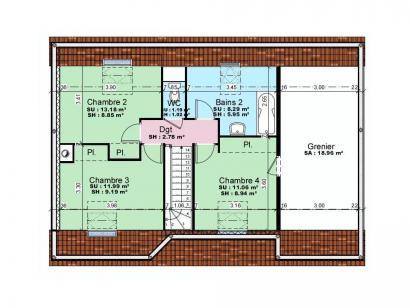 Plan de maison AVANT PROJET YVRE - Etage 100 m² - 4ch 4 chambres  : Photo 2