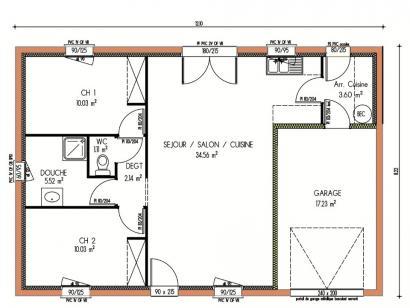 Plan de maison Avant-projet ALLONNES - 67 m2 - 2 Chambres 2 chambres  : Photo 1
