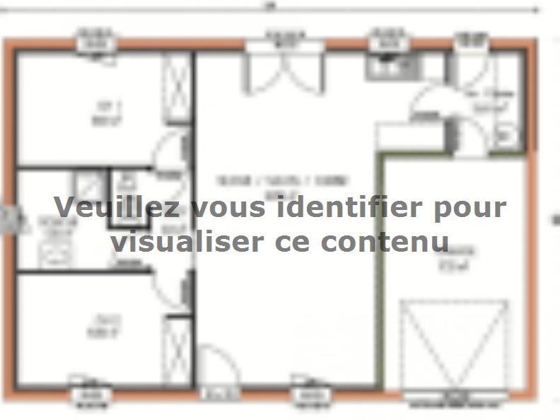 Plan de maison Avant-projet ALLONNES - 67 m2 - 2 Chambres : Vignette 1