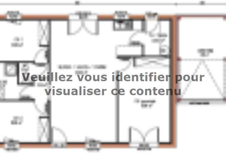 Plan de maison Avant-projet ARNAGE - 84 m2 - 3 Chambres : Vignette 1
