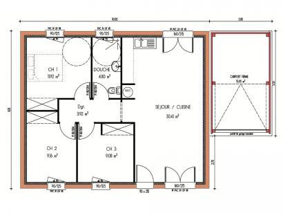 Modèle de maison Avant-projet BRETTE LES PINS - 69 m2 - 3 Chambres 3 chambres  : Photo 3