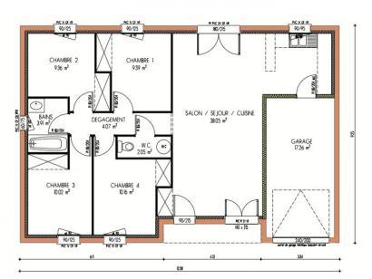 Plan de maison Avant-projet CHAMPAGNE - 87 m2 - 4 Chambres 4 chambres  : Photo 1
