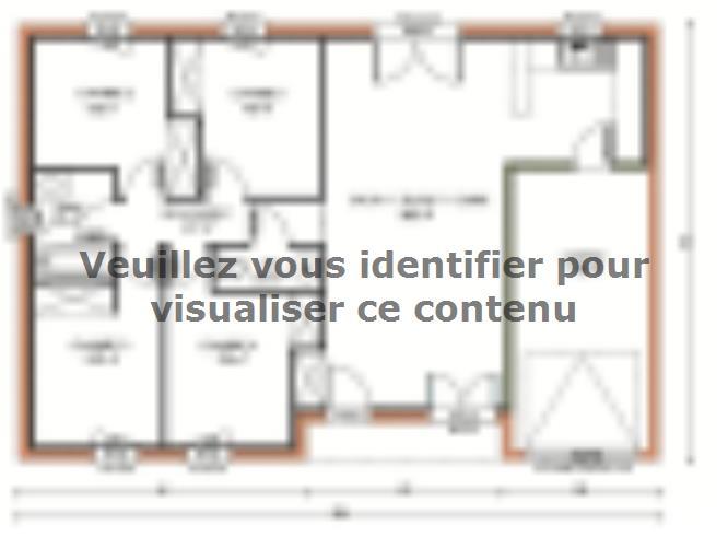 Plan de maison Avant-projet CHAMPAGNE - 87 m2 - 4 Chambres : Vignette 1