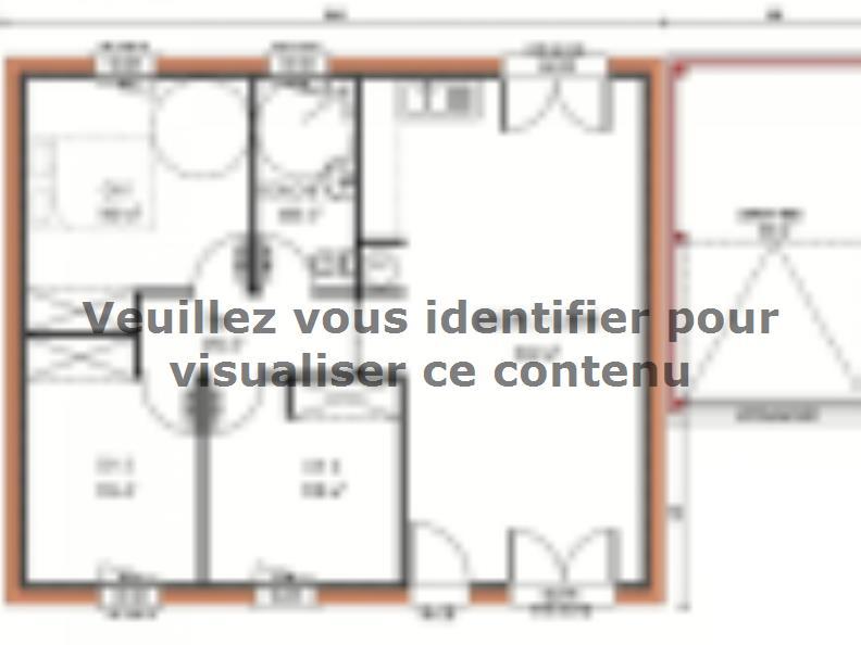 Plan de maison Avant-projet CHANGE - 69 m2 - 3 Chambres : Vignette 1