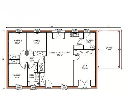 Plan de maison Avant-projet GUECELARD - 91 m2 - 4 Chambres 4 chambres  : Photo 1