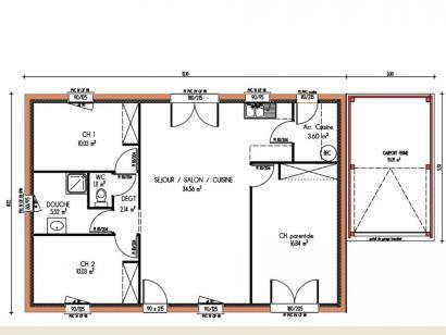Plan de maison Avant-projet LA BAZOGE - 84 m² - 3 Chambres 3 chambres  : Photo 1