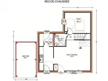 Plan de maison Avant-projet LA CHAPELLE SAINT AUBIN - 76 m2 - 3 C 3 chambres  : Photo 1