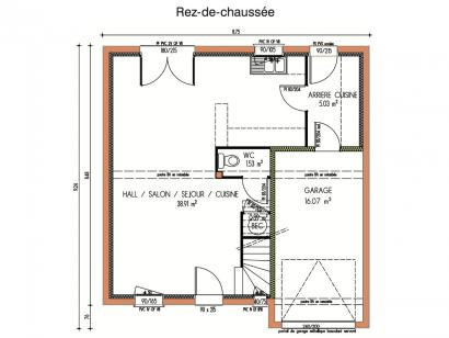 Plan de maison Avant-projet LA FLECHE - 92 m2 - 3 Chambres 3 chambres  : Photo 1